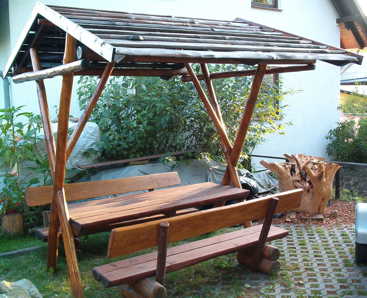 sitzgruppe mit dach satteldach holzbau bau abc rostrup gartenm bel aus holz sitzgruppe mit. Black Bedroom Furniture Sets. Home Design Ideas