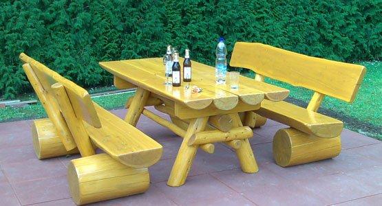 Gartenmobel Tisch Rund Metall : GartenmöbelSet mit Gartentisch und 2 Gartenbänken aus Holz